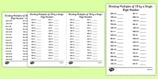 Dividing Multiples of 10 by 1 Digit Numbers A5 Activity Sheet