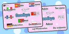 Mixed Language Goodbye Display Signs
