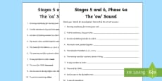 Linguistic Phonics Stage 5 and 6 Phase 4a, 'ow' Sound Word Work Activity Sheet