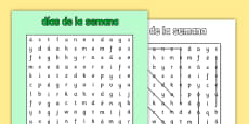 Days of the Week Word Search Spanish