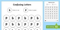 Confusing Letters b and p Activity Sheet