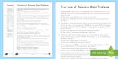 * NEW * Fractions of Amounts Word Problems Activity Sheet