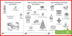 Christmas Words Colouring Sheets Spanish