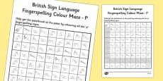 British Sign Language Left Handed Fingerspelling Colour Maze P