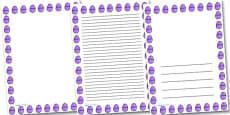 Purple Easter Egg Portrait Page Borders