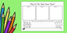 Why Do We Need School Rules? Activity Sheet USA