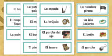 Pirates Word Cards Spanish/Español