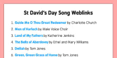Elderly Care St David's Day Song Weblinks