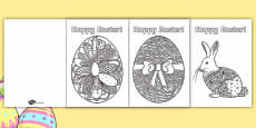 Adult Colouring Mindfulness Easter Cards