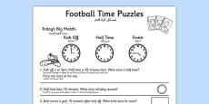 Football Themed Differentiated Time Activity Sheets Arabic Translation