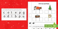 Christmas CVC Words Cut and Paste Activity