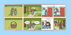 Little Red Riding Hood Story Sequencing 4 per A4 Speech Bubbles Polish