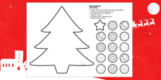 Cutting Skills Christmas Tree Activity English/Polish