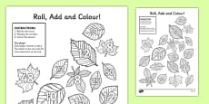 Leaf Roll and Colour Dice Multiplication Activity