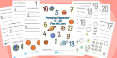 Trasarea cifrelor și formarea numerelor cu tema spațiului - Fișă de lucru