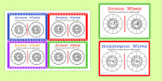 Multiplication and Division Wheels Maths Challenge Cards