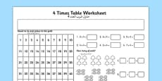 4 Times Table Activity Sheet Arabic Translation