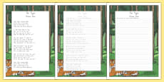 New Zealand The Tyger Poem Handwriting Practice Activity Sheets
