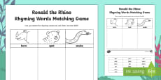 Ronald the Rhino Rhyme Matching Activity