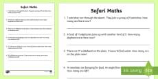 Safari Themed Maths Word Problems Mixed to 20 Activity Sheet