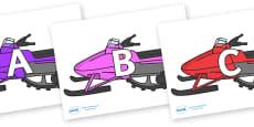 A-Z Alphabet on Snowmobiles