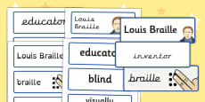 Louis Braille Word Cards