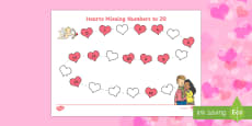 Valentine's Day Hearts Missing Numbers to 20 Activity Sheet