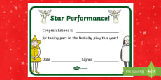 Christmas Concert or Nativity Play Participation Certificates