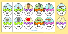 CVC Mixed Words Easter Egg Matching Activity