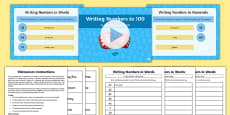 Year 2 Maths Write Numbers to at Least 100 in Numerals and Words Lesson Pack