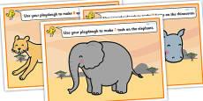 Safari Animal Counting Playdough Mats