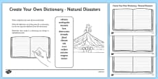 Natural Disasters Key Vocabulary Create Your Own Dictionary