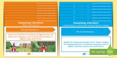 * NEW * Literature Content Descriptions Examining Literature Display Posters