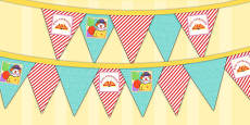 Circus Themed Birthday Party Picture Bunting