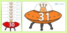Numbers 0-31 on Spaceships