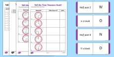 Tell the Time Treasure Hunt Activity Sheet Pack