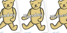 Days of the Week on Old Teddy Bears