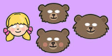 Goldilocks and the Three Bears Story Role Play Masks