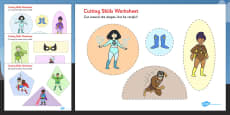Superhero Themed Cutting Skills Activity Sheets