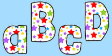 Multicoloured Stars Themed Funky Display Letters and Numbers Pack