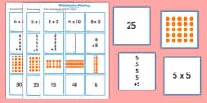 2, 5 and 10 Times Table Multiplication Matching Puzzle Arabic Translation