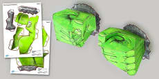 Massive 3D Green Monster Hands for Display Paper Model
