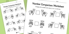 The Three Billy Goats Gruff Number Comparison Activity Sheets