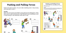 Pushing and Pulling Forces Worksheet