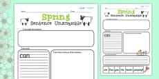 Spring Sentence Unscramble Activity Sheets