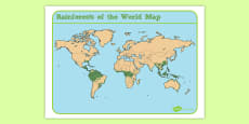 Jungles and Rainforests Of the World Map