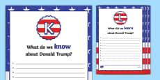Donald Trump KWL Activity Sheets