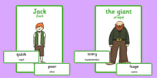 Jack and the Beanstalk Character Describing Words Matching Activity Romanian Translation