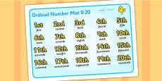 Ordinal Number Mat (0-20)