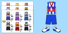 AFL Australian Football League Football Kit Cut Outs